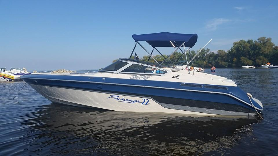 Custom Sunbrella Boat Cover: Sea Ray Pachanga 22 Bimini Top with stainless steel frame and rear support arms